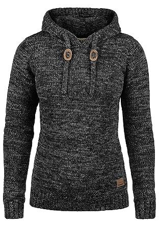 af2d85621b5eb2 DESIRES Philla Damen Winter Strickpullover Troyer Grobstrick Pullover mit  Kapuze, Größe:XS, Farbe