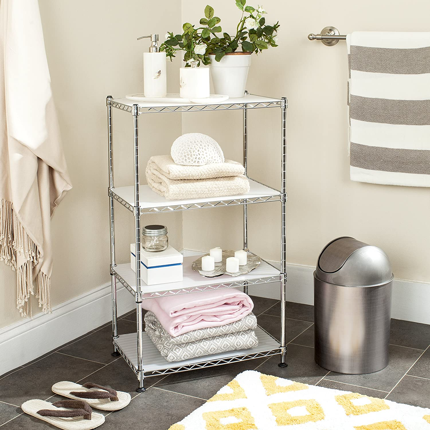 Safavieh Home Collection Jules Adjustable Premium Chrome 31.5-inch Wire Mini Rack HAC1005A