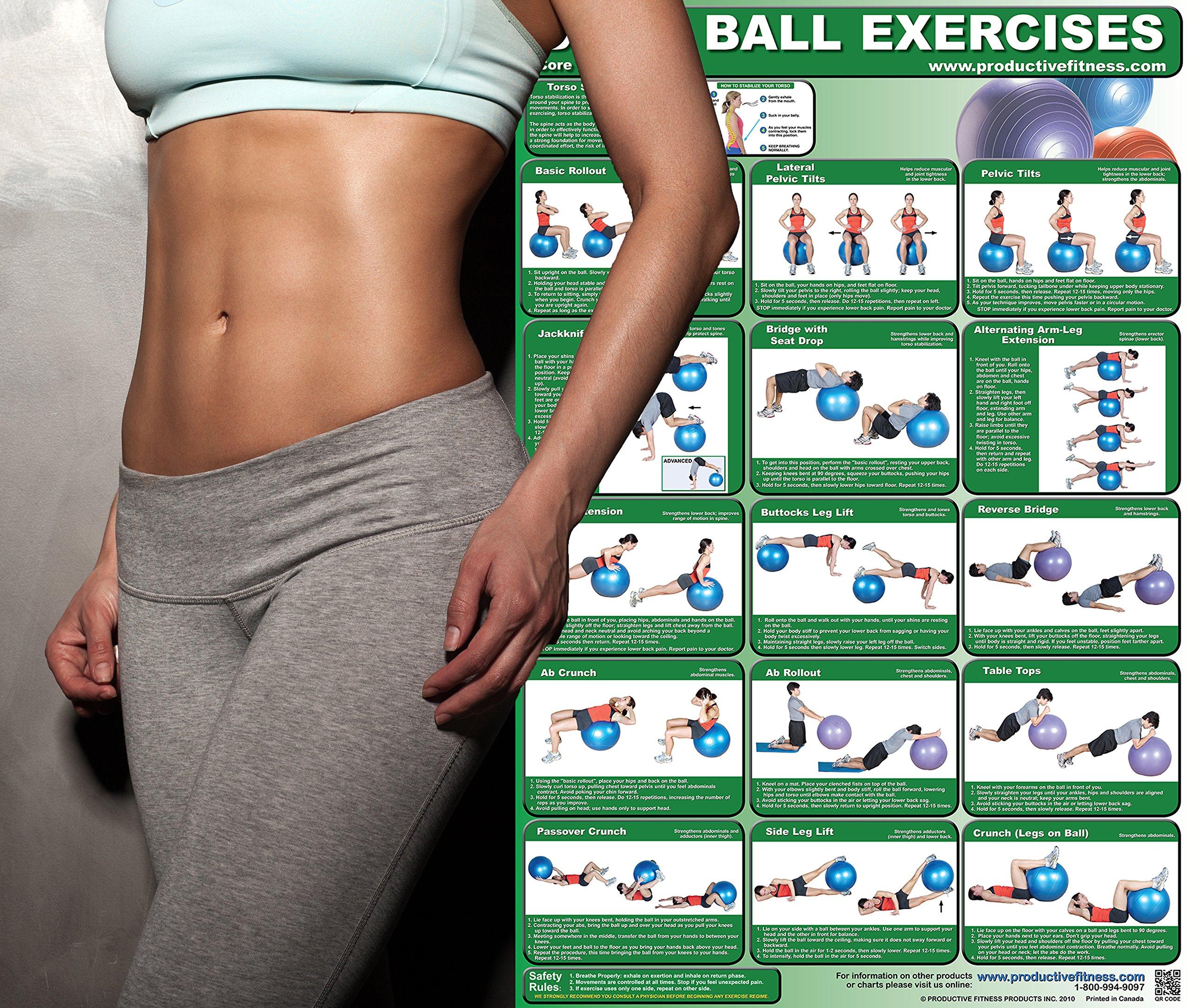 body ball exercises core laminated poster andre noel potvin 本
