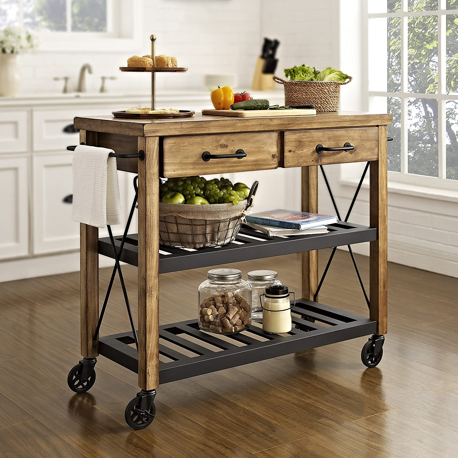 amazon com crosley furniture roots rack industrial rolling