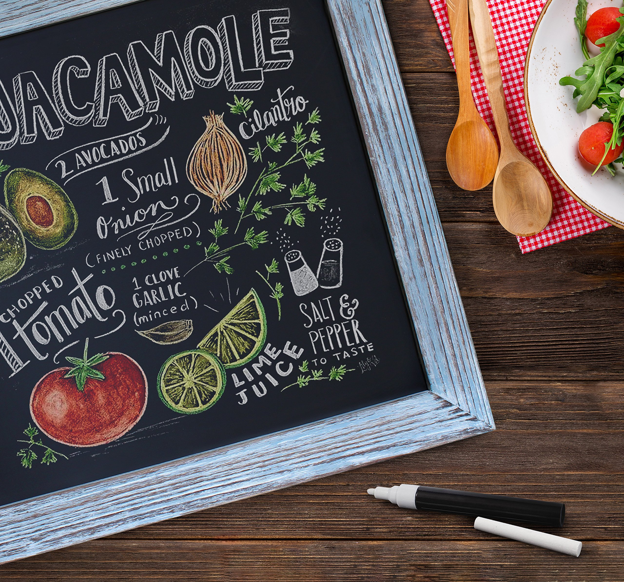 Rustic Blue Magnetic Wall Chalkboard, Extra Large Size 20'' x 30'', Framed Decorative Chalkboard - Great for Kitchen Decor, Weddings, Restaurant Menus and More! … (20''x30'') by HBCY Creations (Image #5)