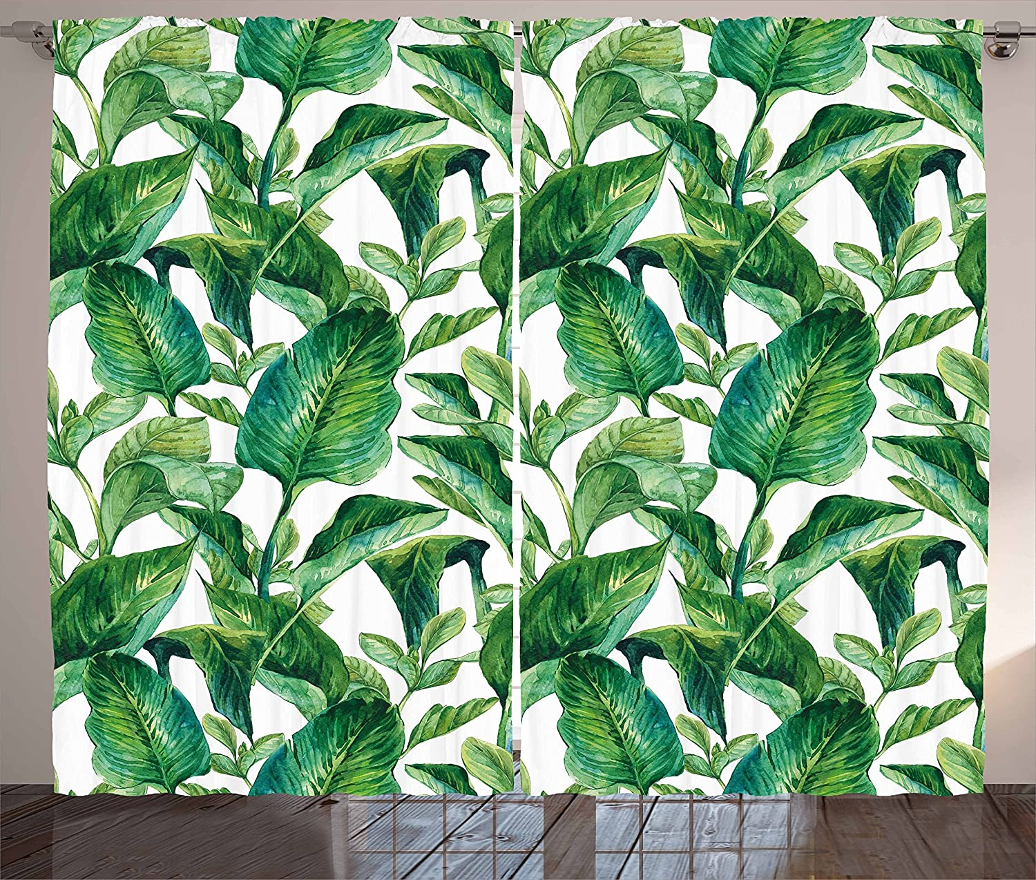 """Ambesonne Leaf Curtains, Romantic Holiday Island Hawaiian Banana Trees Watercolored Image, Living Room Bedroom Window Drapes 2 Panel Set, 108"""" X 90"""", Forest Green"""