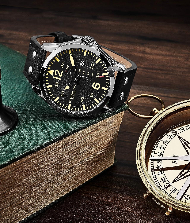 a83b1d6f21fa Stuhrling Original Reloj de Cuero para Hombre - Esfera de Reloj de aviación  Negra