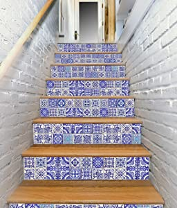 65 units of 13designs Blue Peel and Stick Tile Sticker DIY Decor for Backsplash and Stair Riser Staircase Self Adhesive Waterproof Vinyl Home Decal Wallpaper Decoration Victorian Spanish Talavera