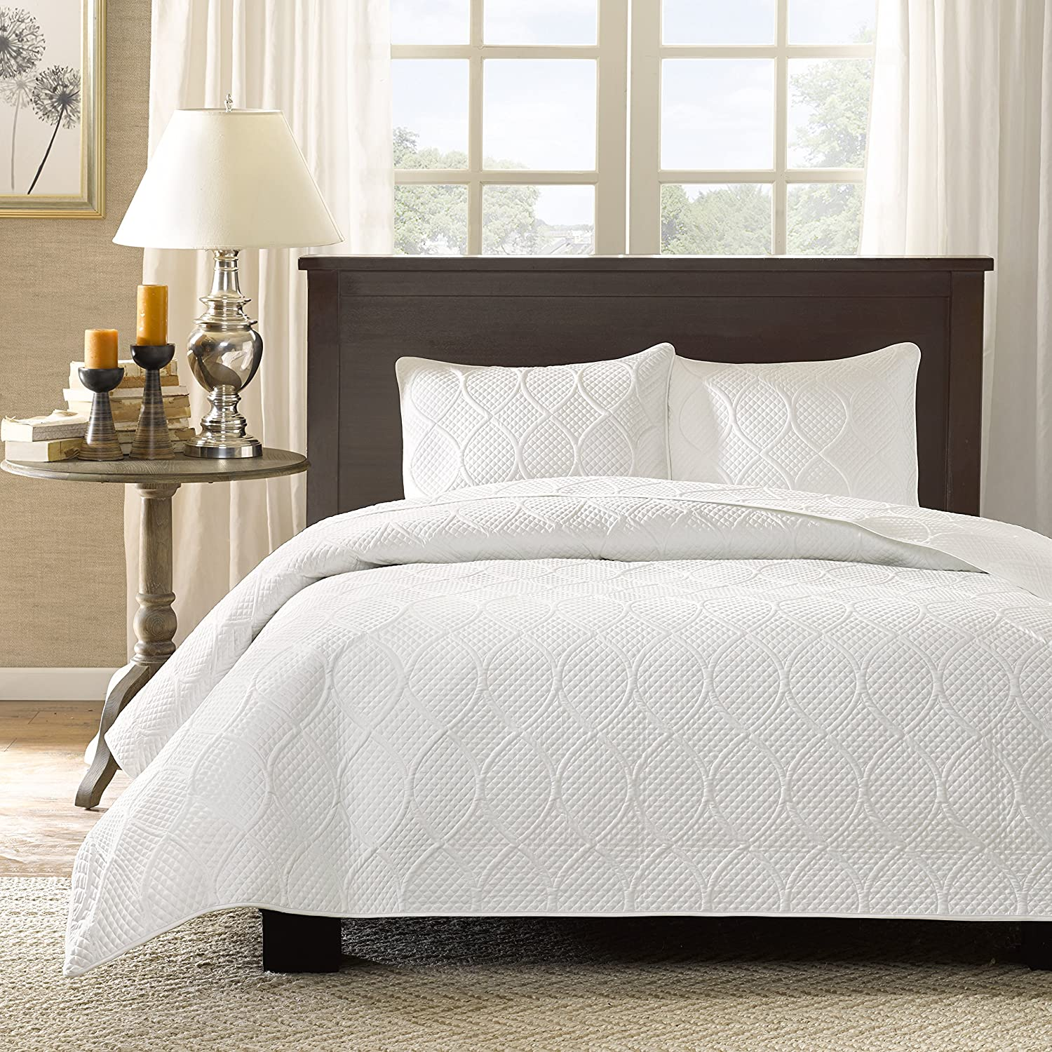 amazoncom madison park corrine  piece coverlet set kingcaliforniaking white home  kitchen. amazoncom madison park corrine  piece coverlet set king