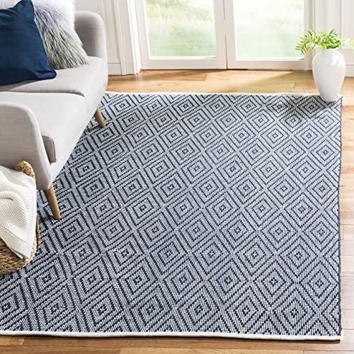 Safavieh Montauk Collection MTK811C Handmade Flatweave Navy and Ivory Cotton Area Rug 8' x 10'