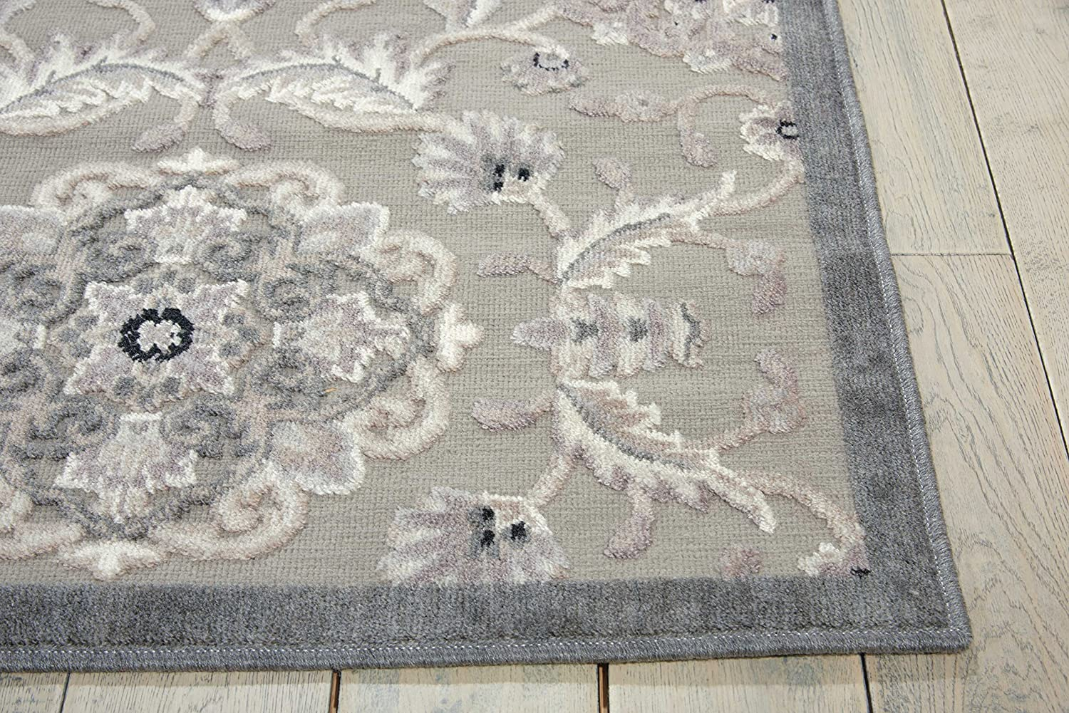 Grey Runner Area Rug 2-Feet 3-Inches by 8-Feet Nourison Graphic Illusions GIL12 23 x 8 2-Feet 3-Inches by 8-Feet 2/'3 x 8/'