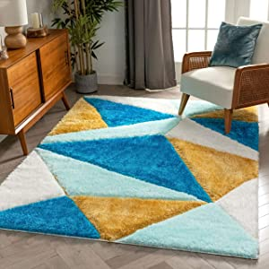 Well Woven Walker Blue Triangle Boxes Thick Soft Plush 3D Textured Shag Area Rug 5x7 (5'3