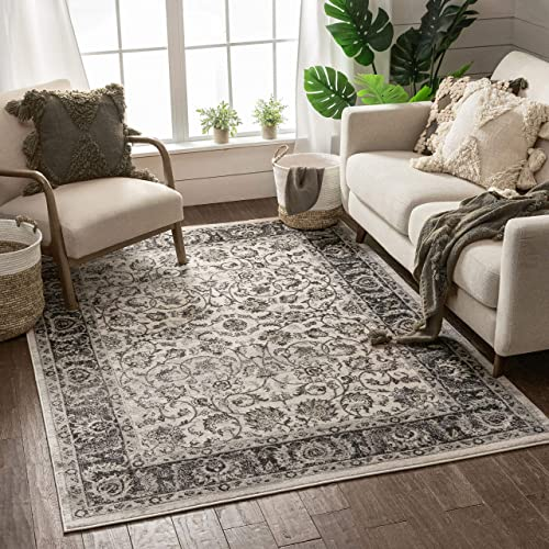 Well Woven Essex Beige Ivory Vintage Traditional Persian Oriental Sarouk Area Rug 8 x 10 7'10″ x 9'10″ Neutral Modern Shabby Chic Thick Soft Plush Shed Free