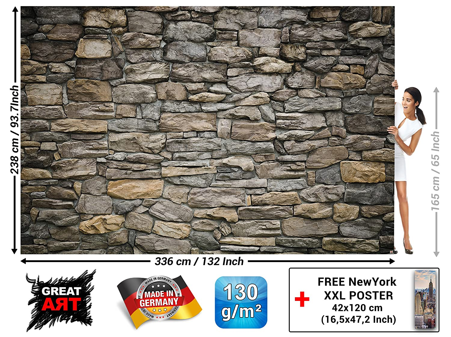 Wall Mural – Wallpaper Grey Stonewall – Picture Decoration Wall Cladding Stone Rock Optic Tapestry Stone Pattern 1000 Stones Wallpaper Stone Optic Wallpaper (132.3 x 93.7 Inch / 336 x 238 cm)