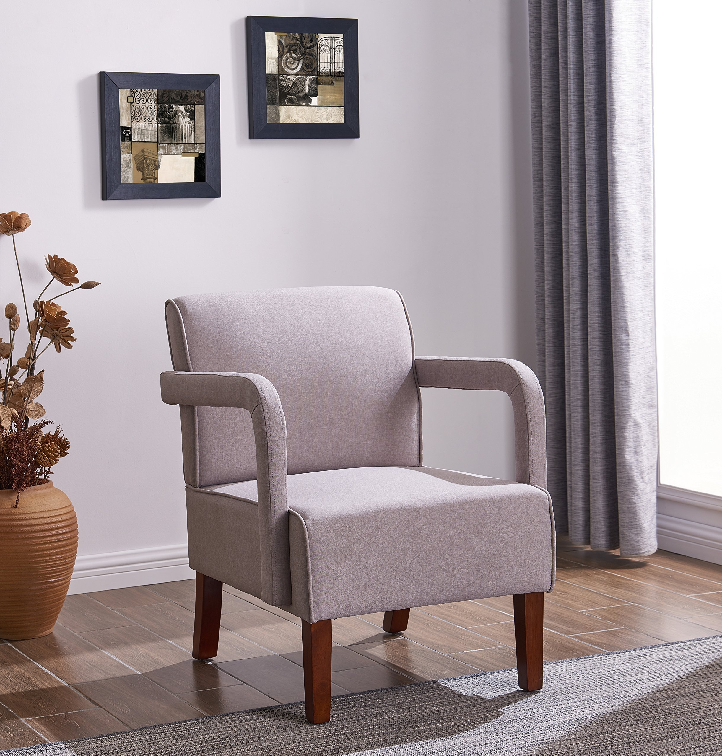 IDS Living Room Bedroom Contemporary Stylish Button-Tufted Upholstered Accent Arm Chair Wooden Leg -Light Grey Fabric by IDS Home (Image #1)