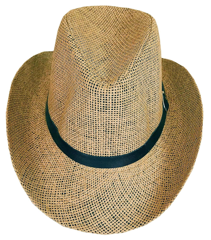 SYNC WITH STYLE Men Women Unisex Western Straw Cowboy Hat Beach Cap Wide Brim Church Cap Fedora Trilby Sun Hat Gambler Hat with Leather Detail