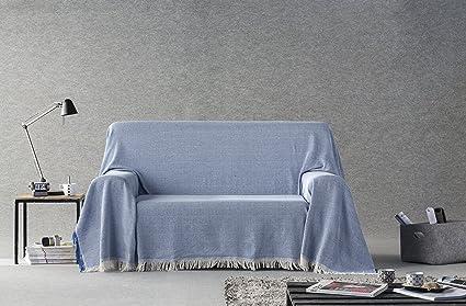 DECORACION NUEVO ESTILO- Plaid-Foulard Multiusos Espiga para Camas o sofás, tamaño 230 x 260, Color 03 Azul (Varias Medidas y Colores)