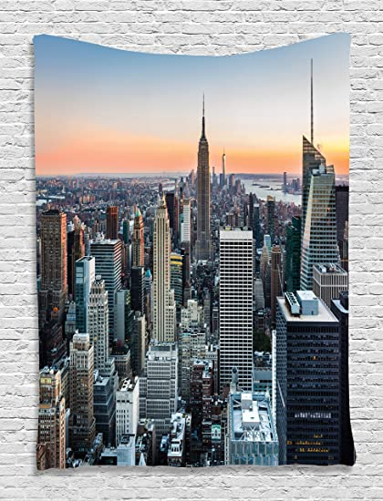 Wall Art Decor New York City Themed Decor Art Picture Rose Quartz Manhattan  Skyline Sunset Lighted
