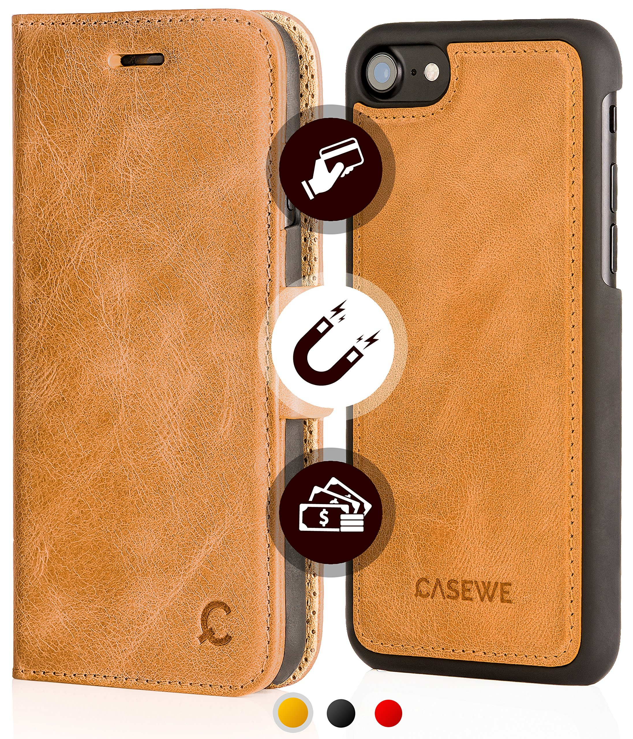 iPhone 8 / iPhone 7 Leather Wallet Case - Folio Book in Italian Style, Genuine Flip Case, 3 Card Holder and Cash with Kickstand Function - Magnetic Clip Closure & Detachable Hard Cover - Cognac
