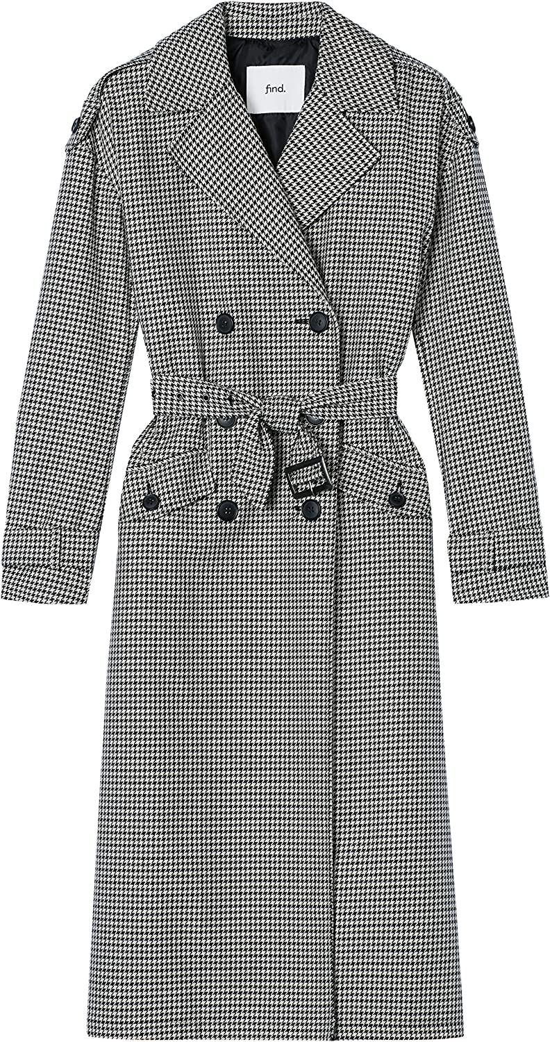 1940s Style Coats and Jackets for Sale Amazon Brand - find. Womens Check Trench Coat £61.00 AT vintagedancer.com