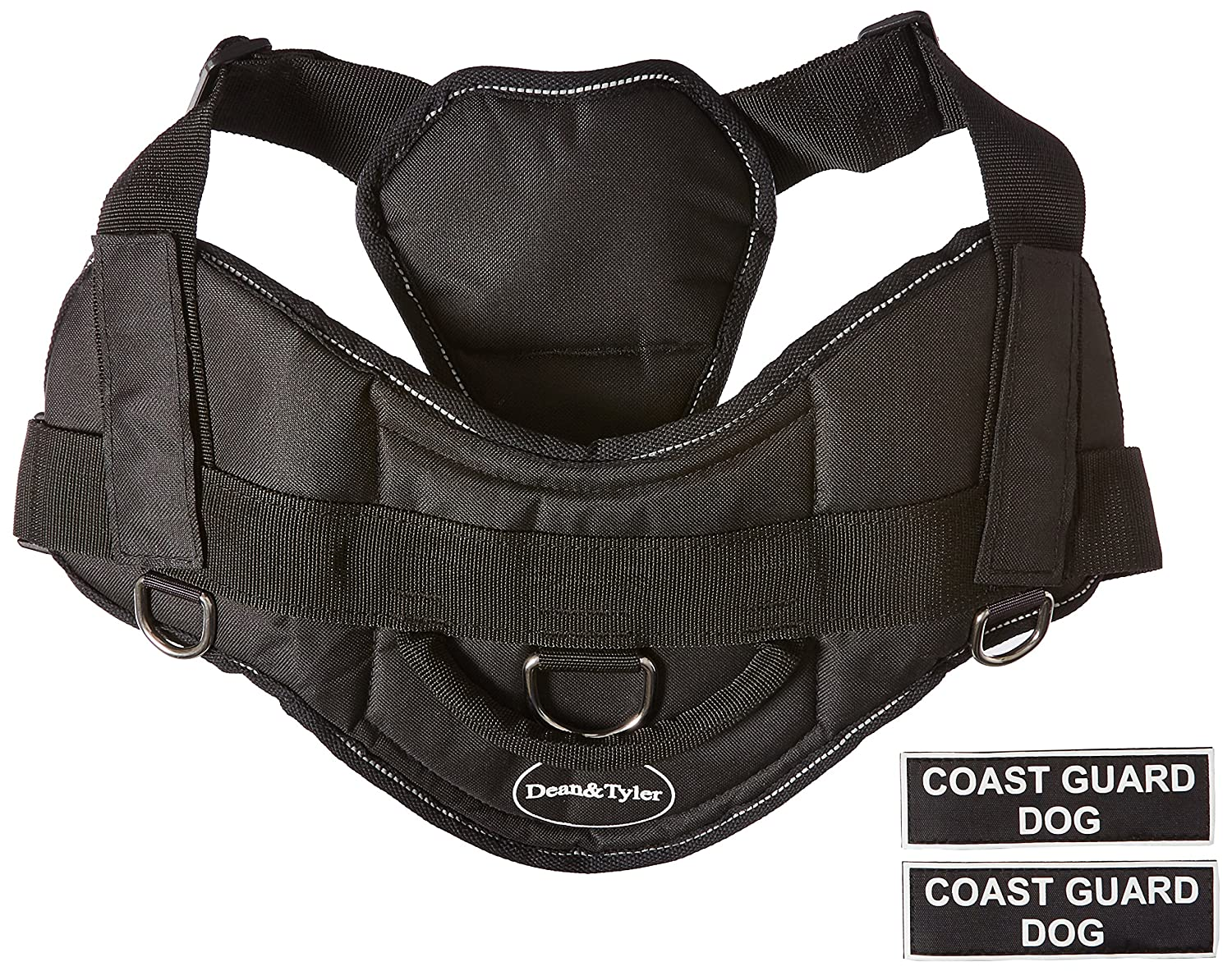 Dean & Tyler DT Fun Coast Guard Dog  Dog Harness with Padded Chest Piece, Fits Girth Size 34-Inch to 47-Inch, X-Large, Black with Reflective Trim