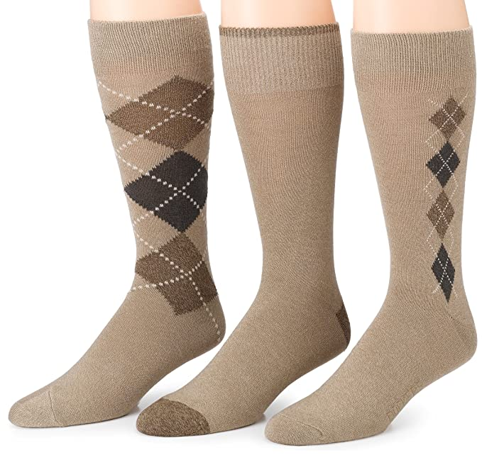 History of Vintage Men's Socks -1900 to 1960s Dockers Mens 3 Pack Classics Metro Argyle Crew Socks $9.99 AT vintagedancer.com