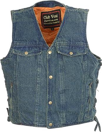 Black, 2X Club Vest Womens Side Lace Denim Vest with Chest Pockets