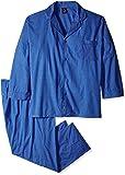 Hanes Men's Woven Plain-Weave Pajama Set, Blue/White Plaid, 4X