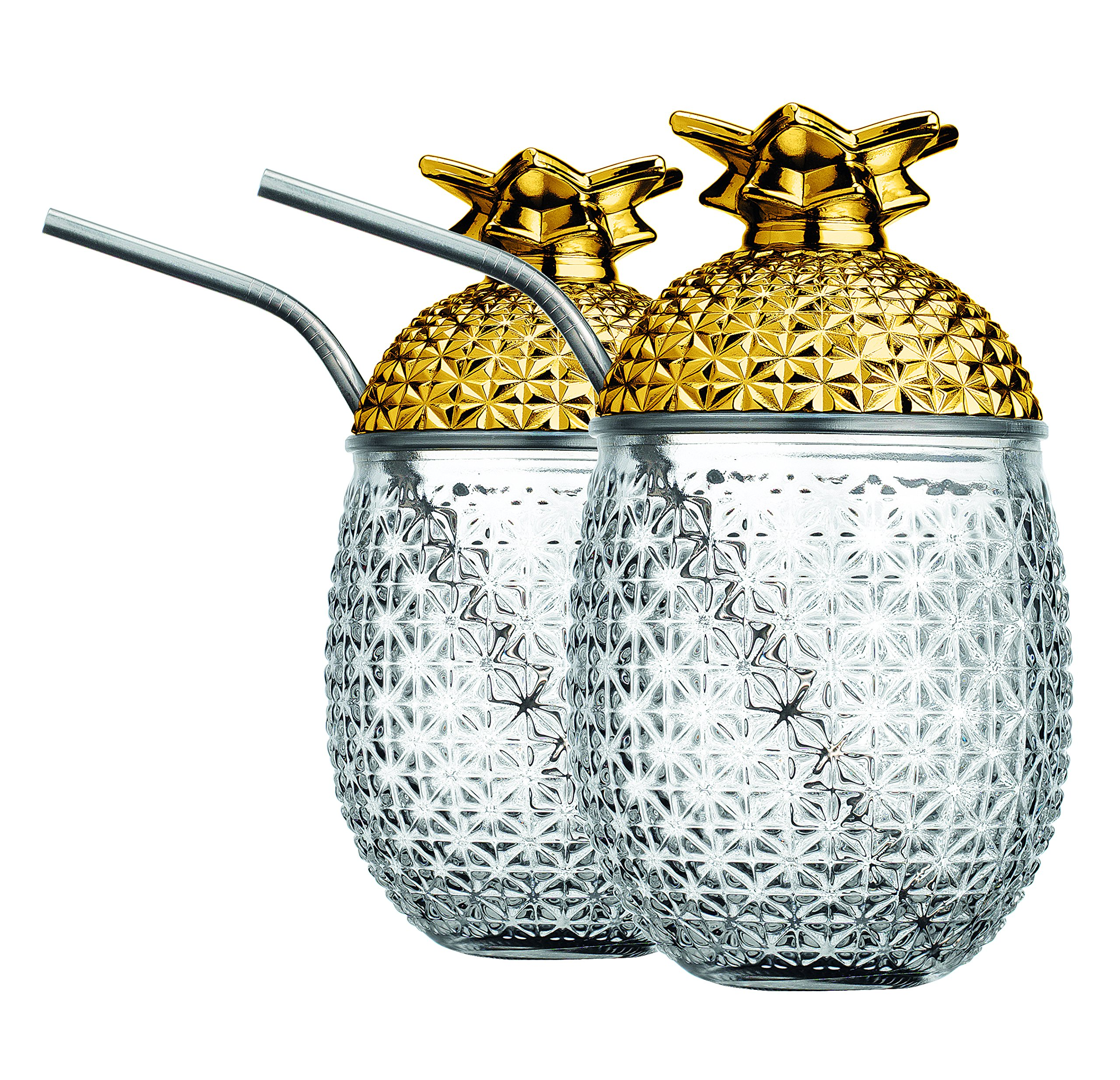 Glass Set of (2) Pineapple Cocktail Mug with Stainless Steel Straw Included, Gold Color Lid. Design, (20 Oz)