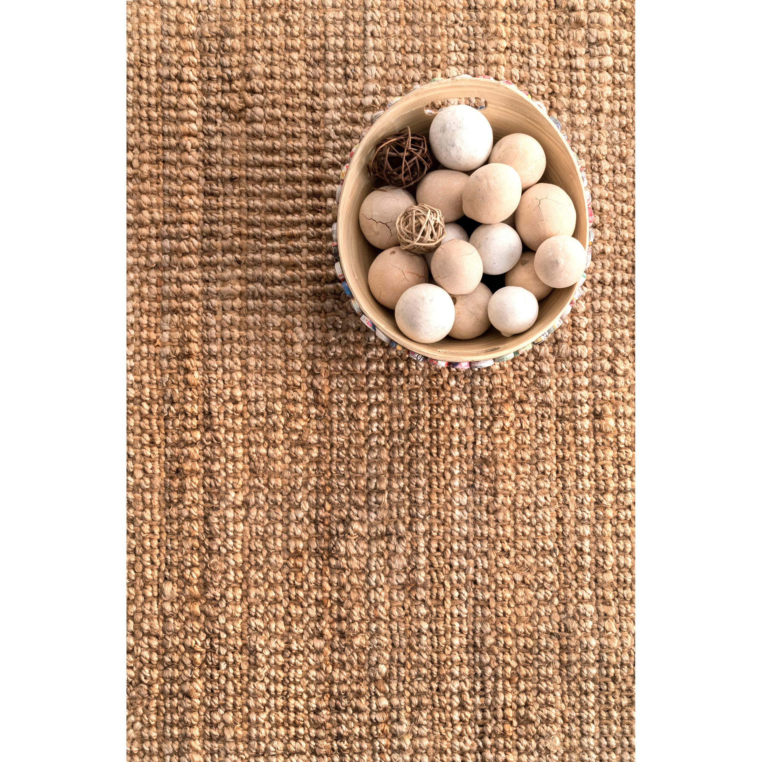 nuLOOM Handwoven Jute Ribbed Solid Area Rugs, 4' x 6', Natural by nuLOOM (Image #7)