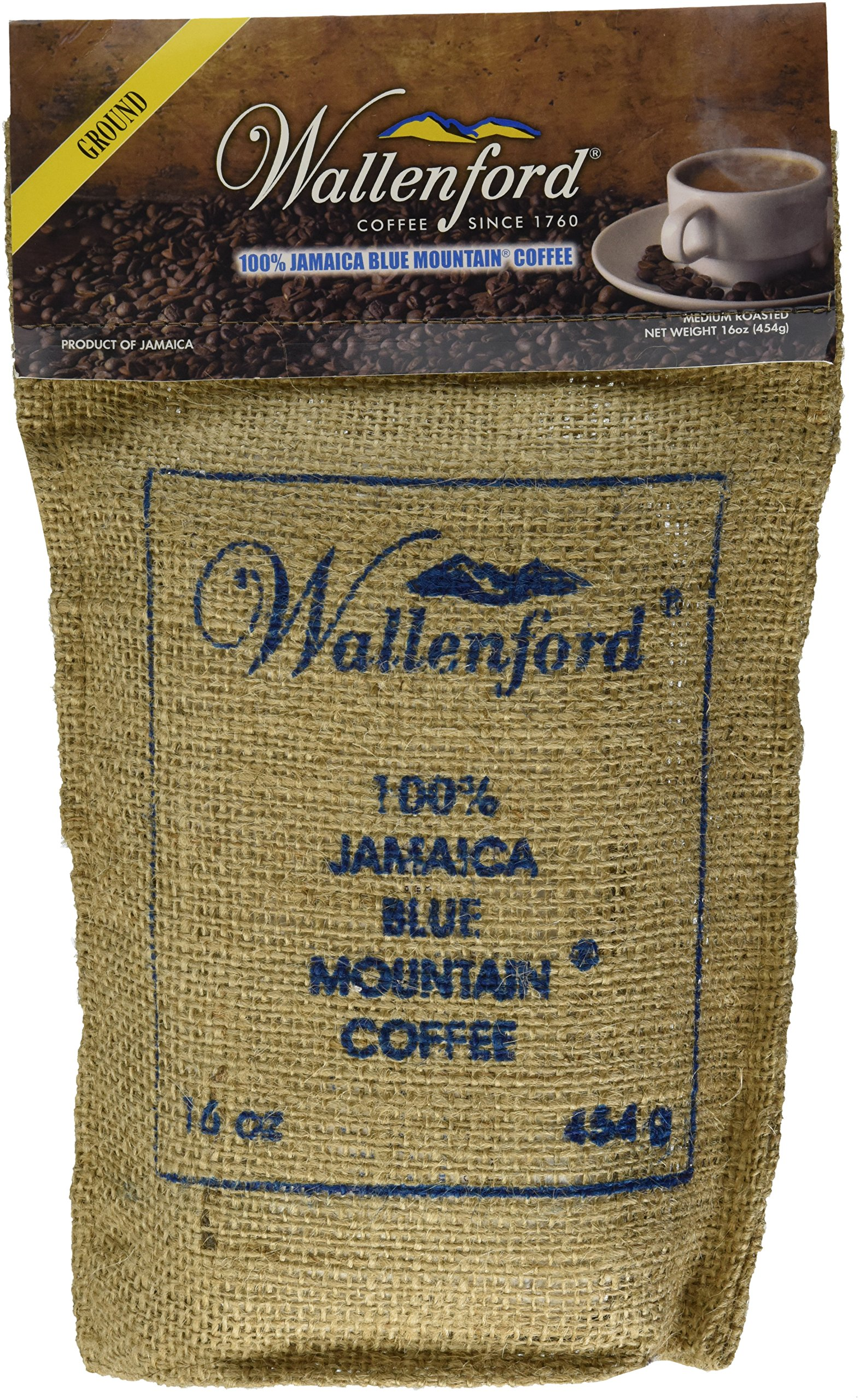 Roasted and Ground 100% Jamaica Blue Mountain Coffee, 16oz (1lb) Bag
