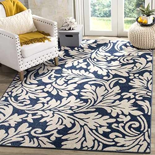 Safavieh Amherst Collection AMT425P Floral Area Rug, 5 x 8 , Navy Ivory