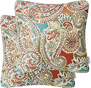 Mika Home Pack of 2 Decorative Pillow Covers Throw Pillow Cases,Paisley Pattern,18X18 Inches,Red Teal Cream Multicolor