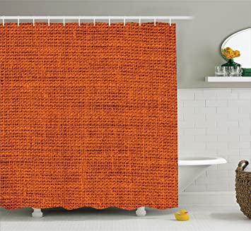 burnt orange decor shower curtain set by ambesonne faded burlap texture print background of macro - Burnt Orange Bath Set