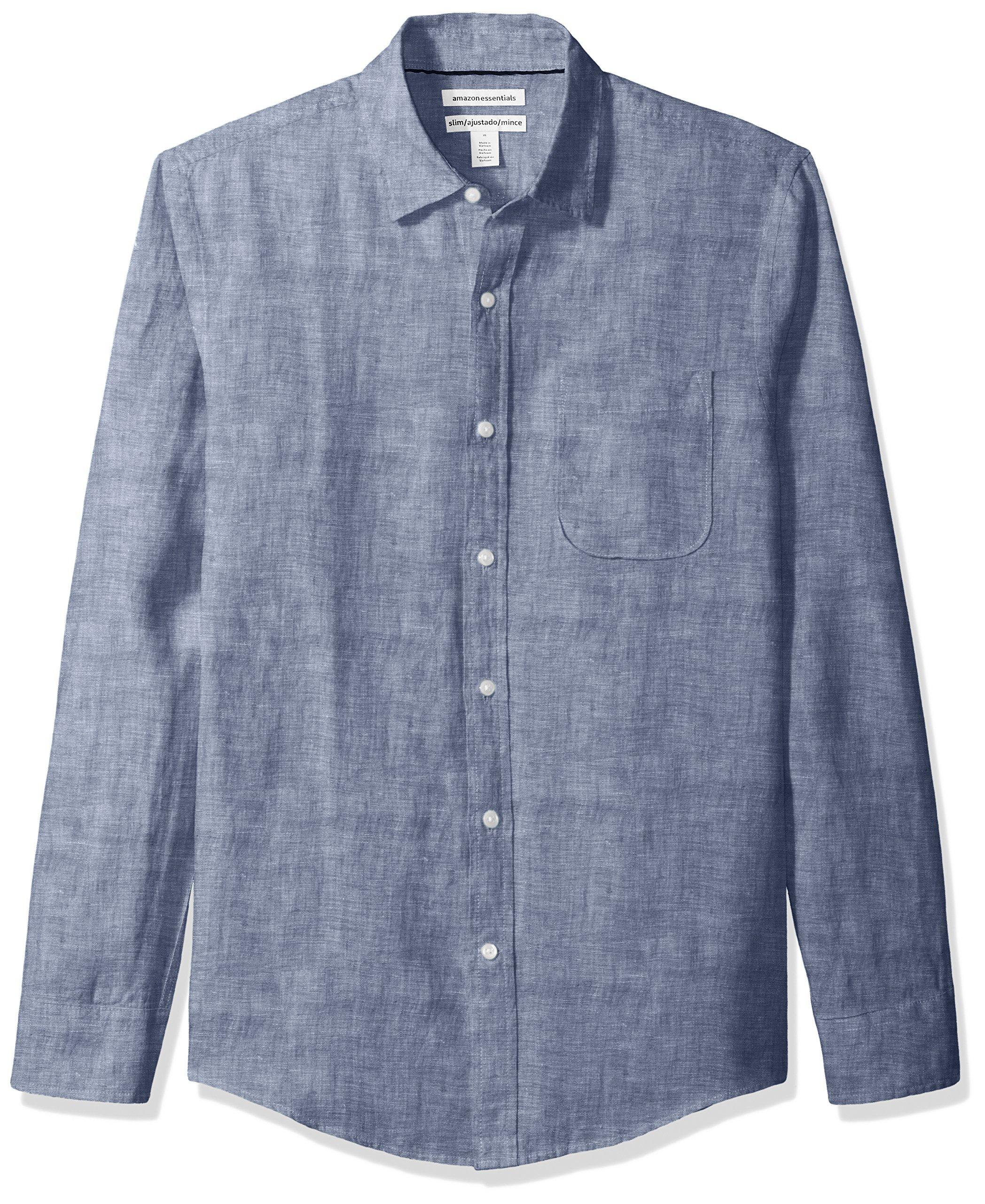 Amazon Essentials Men's Slim-Fit Long-Sleeve Linen Shirt, Navy, Large