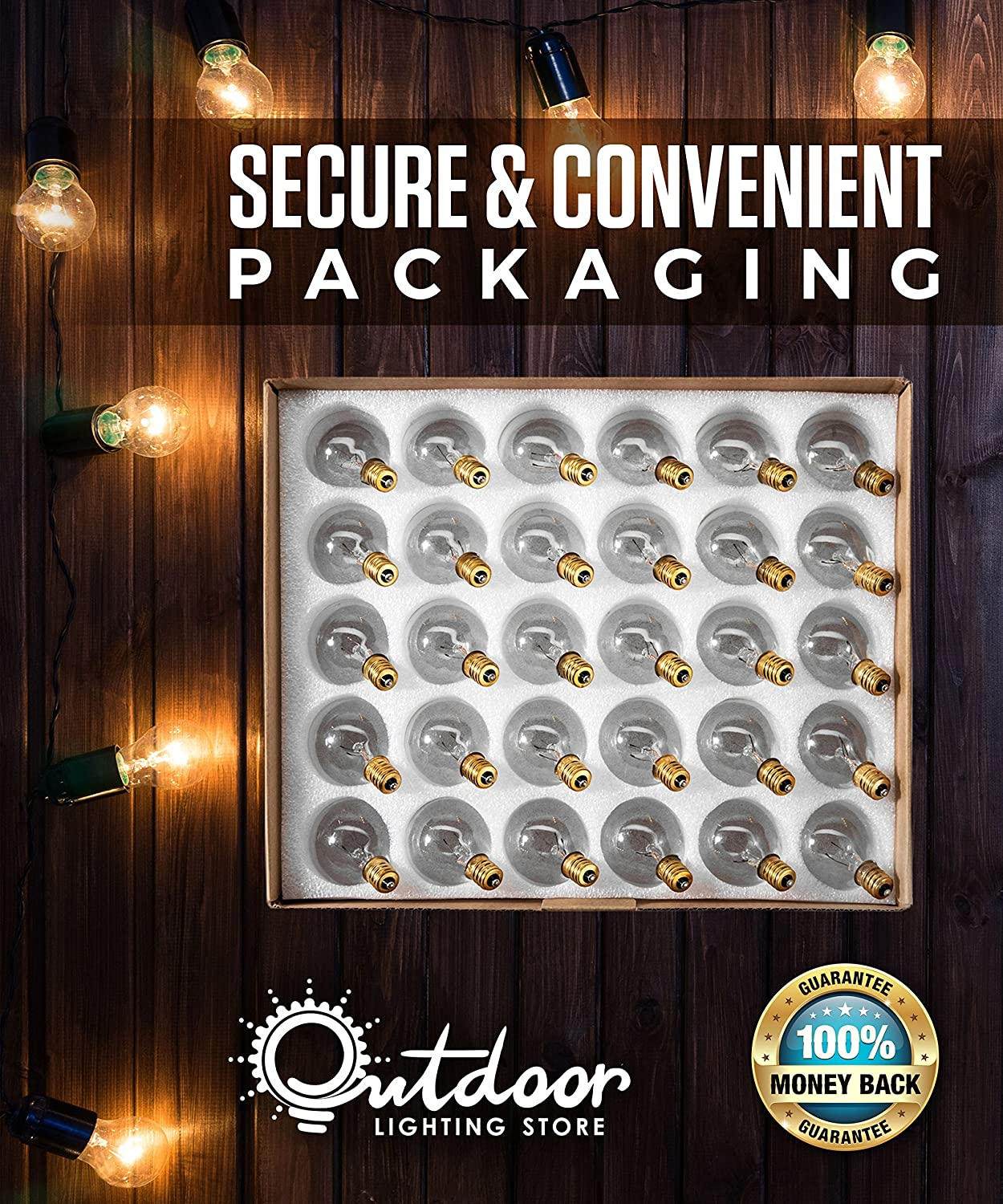 Fits E12 and C7 Sockets Candelabra Screw Base 30 Pack of G40 Replacement Bulbs: 5 Watt G40 Globe Bulbs for String Lights Secure /& Convenient Packaging Indoor//Outdoor Use Clear Glass G40 Bulbs