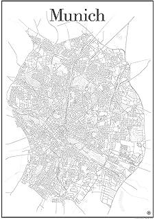 München Karte Schwarz Weiß.München Stadtplan 1 22 500 Poster Plano In Rolle Freytag