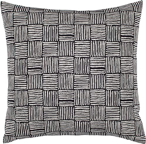 Amazon Brand Stone Beam Modern Reversible Cross-Hatch Stitched Throw Pillow, 17 x 17 , Black and White