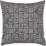 "Stone & Beam Modern Cross-Hatch Print Pillow, 17"" x 17"", Black and White"