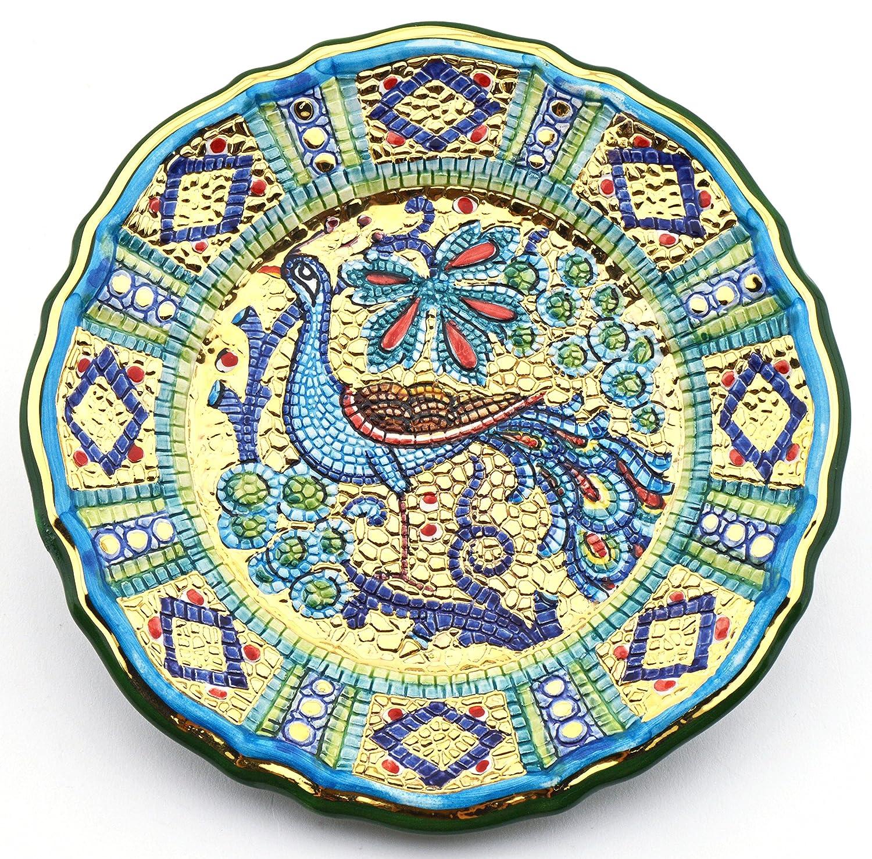 Art Escudellers Plato/Plato Pared Ceramica Pintado a Mano con Oro de 24K, Decorado al Estilo BIZANTINO Verde. 20cm x 20cm x 3cm: Amazon.es: Hogar