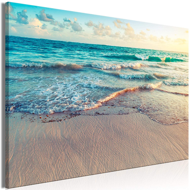 decomonkey | Mega XXXL Bilder Meer Strand | Wandbild Leinwand 170x85 cm Einteiliger XXL Kunstdruck zum aufhängen | Landschaft Natur Sonnenuntergang Sand