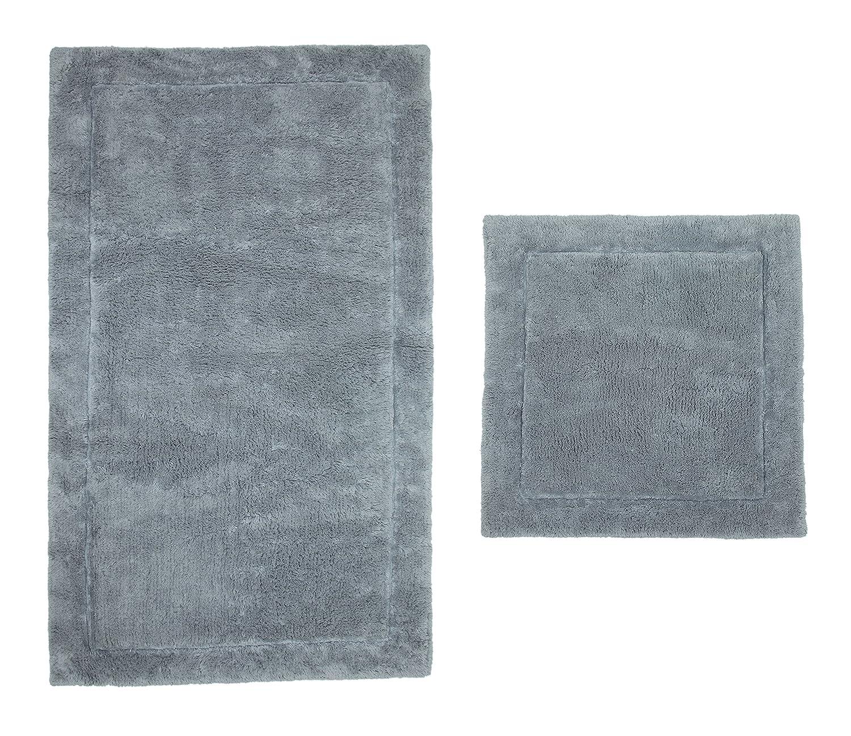 Casalanas - Santorin, Beidseitig verwendbar, Schwerer Badezimmerteppich, 100% Natur-Baumwolle, 2-teilig(60x60 + 100x60) cm, hell grau