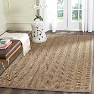 Safavieh Natural Fiber Collection NF115P Herringbone Natural and Grey Seagrass Area Rug (2' x 3')