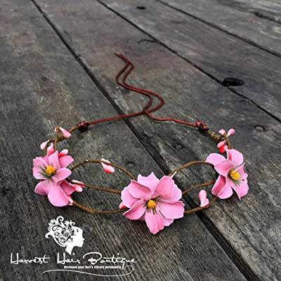 Pink Flower Crown // Fun, feminine, boho flower crown in light pink // Feminine glam style perfect for pinup style or hippie chic costumes