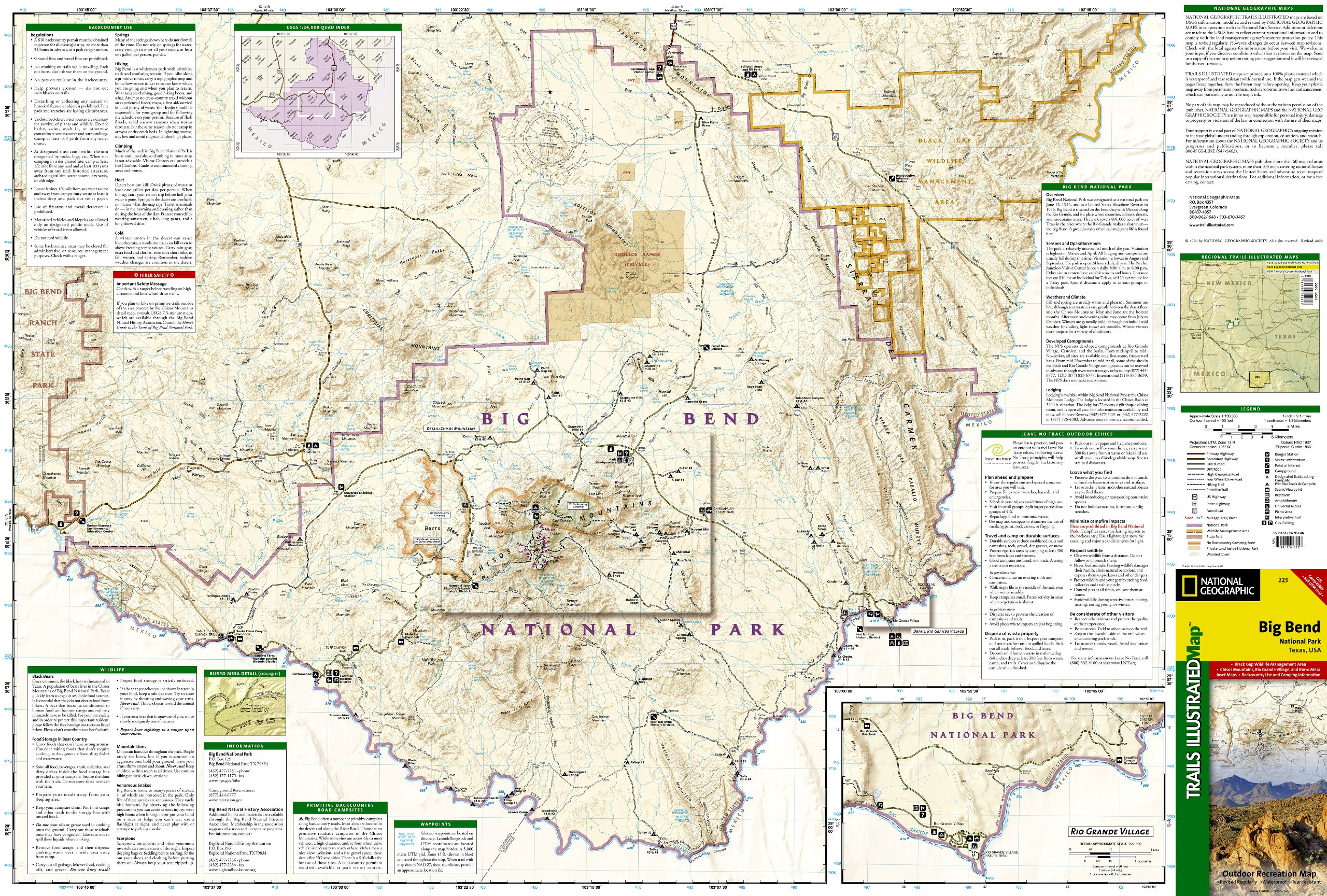 Big Bend National Park National Geographic Trails Illustrated Map - Big bend national park map us