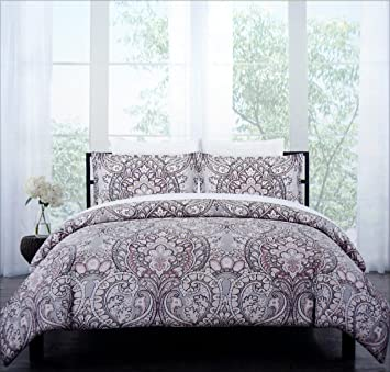 Cynthia Rowley Bedding 3 Piece King Duvet Cover Set Medallion Pattern In  Shades Of Gray Pink