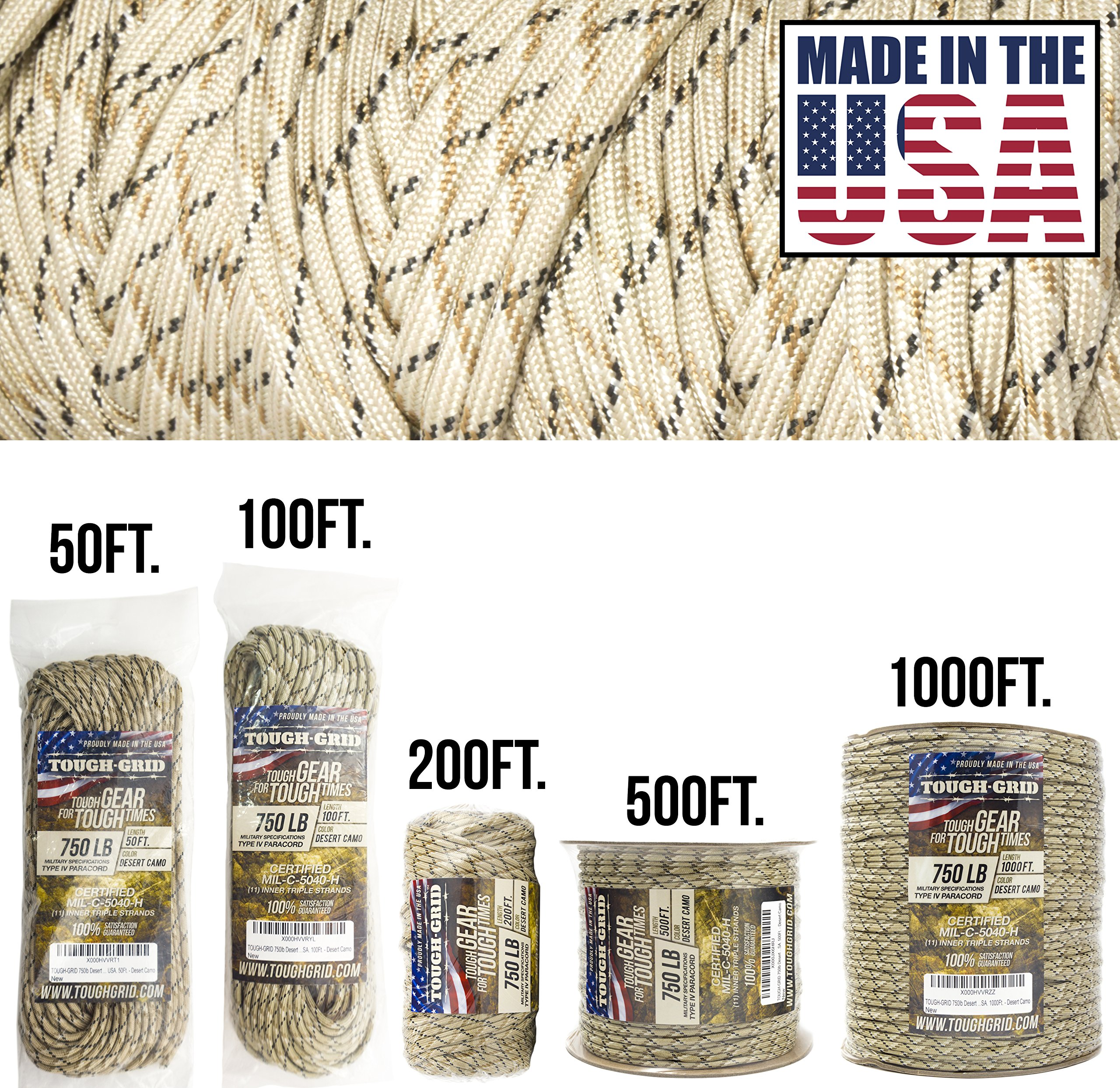 TOUGH-GRID 750lb Desert Camo Paracord/Parachute Cord - Genuine Mil Spec Type IV 750lb Paracord Used by The US Military (MIl-C-5040-H) - 100% Nylon - Made in The USA. 50Ft. - Desert Camo
