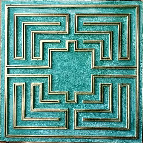 Amazon.com: Estaño Diseño de techo en Aged Cyan Color Dorado ...