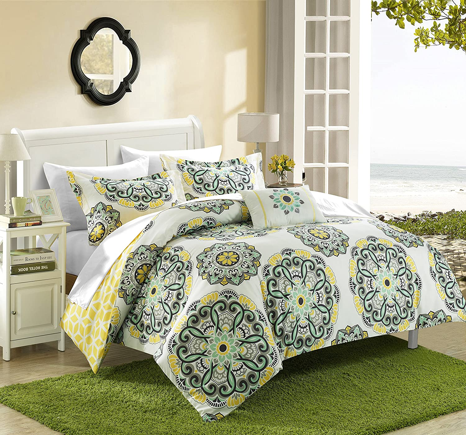 Chic Home Barcelona 8 Piece Reversible Comforter Set Super Soft Microfiber Large Printed Medallion Design