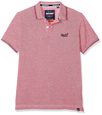 22e795c6f02a Superdry Men's Classic Poolside Pique Polo Shirt, Multicolour (Coral/White  S2v),
