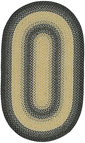 Safavieh Braided Collection BRD311A Hand Woven Black and Grey Oval Area Rug 4 x 6 Oval