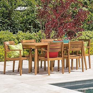 Stanyan Patio Furniture ~ 7 Piece Outdoor Acacia Wood Deck Dining Set