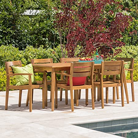 Stanyan 7 Piece Outdoor Acacia Wood Dining Set Perfect for Patio with Teak Finish