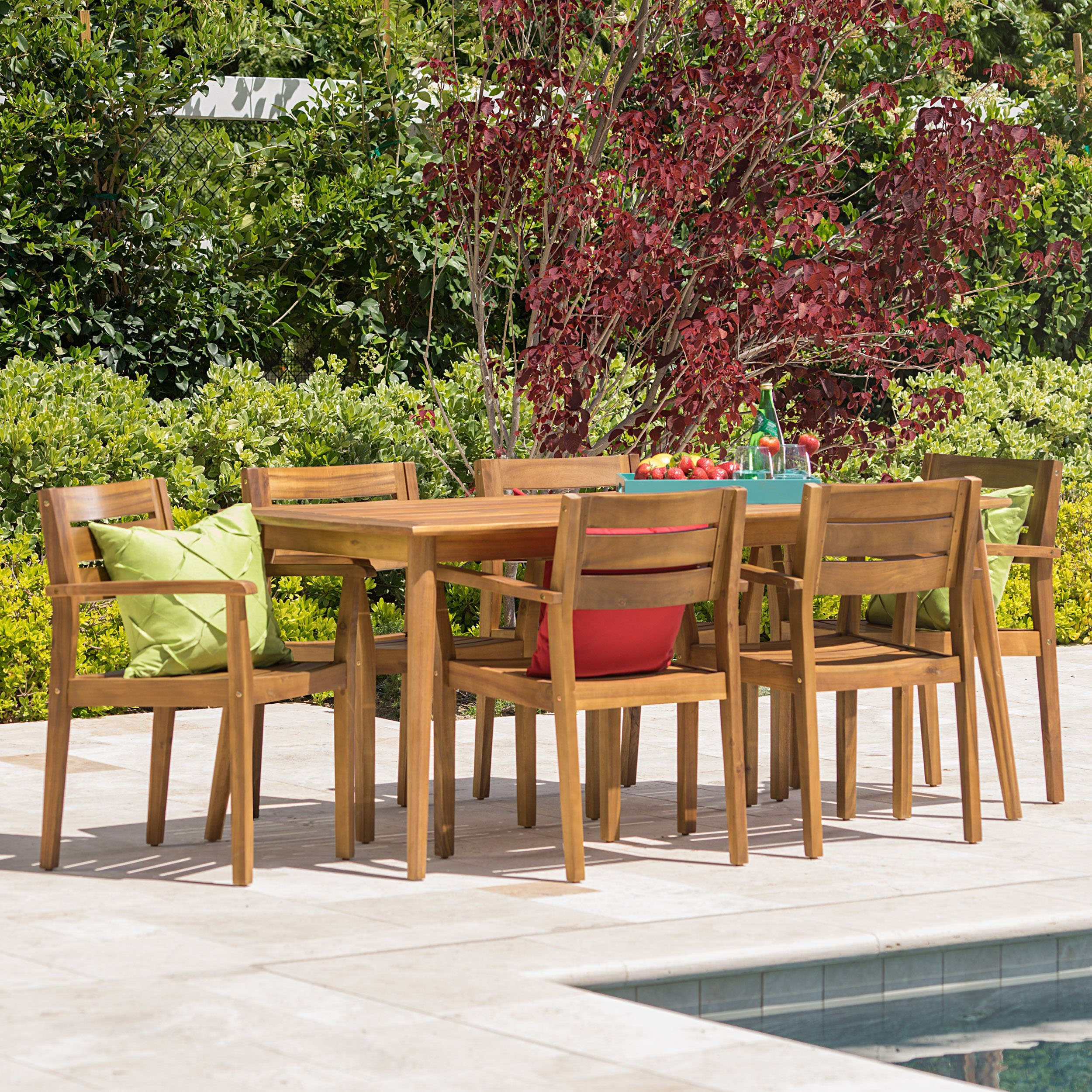 Stanyan | 7 Piece Outdoor Acacia Wood Dining Set | Perfect for Patio | with Teak Finish by GDF Studio